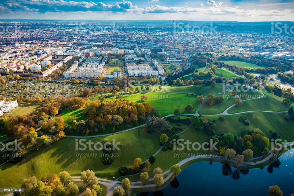 high angle view over Munich stock photo