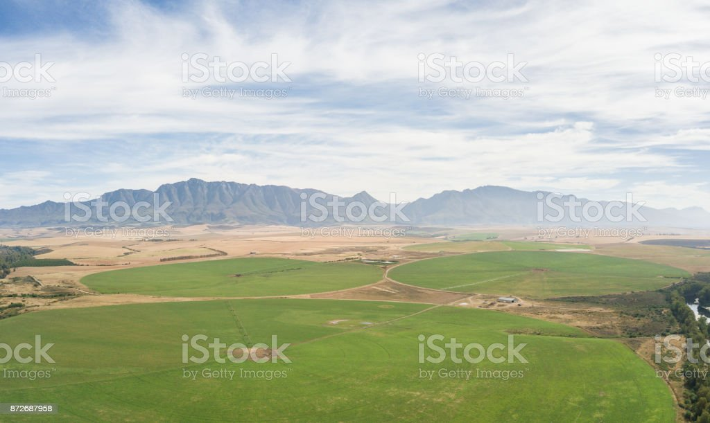High angle view over some cultivated land stock photo