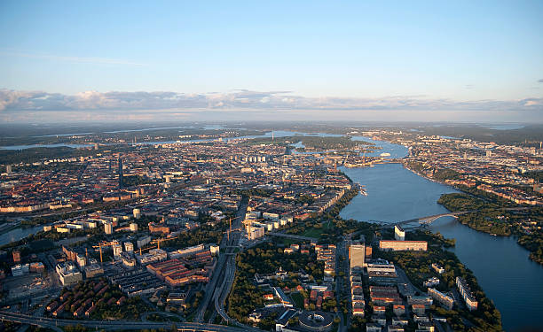High angle view over Stockholm city stock photo