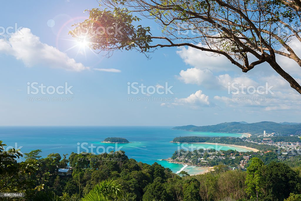 High angle view point of  three bays. stock photo