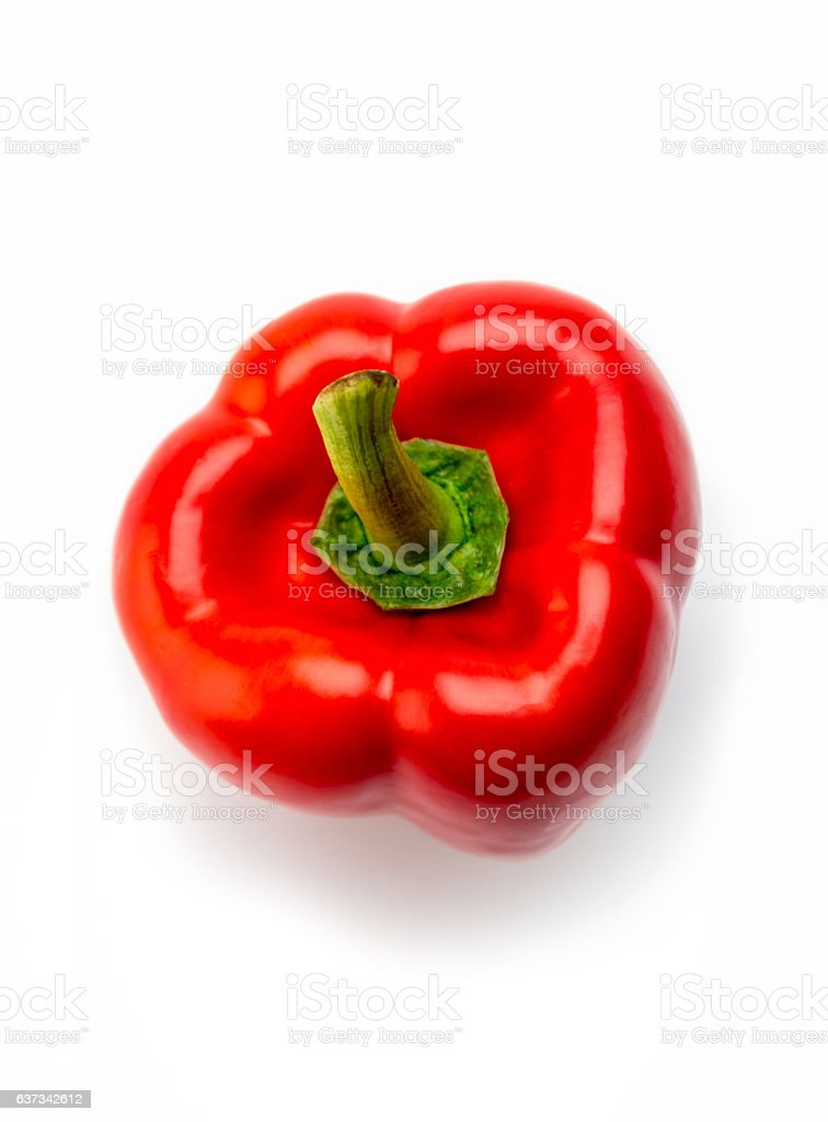 high angle view red bell pepper stock photo