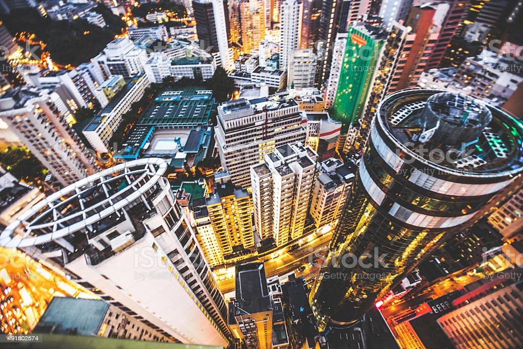 High angle view to Hong Kong skyscrapers. stock photo