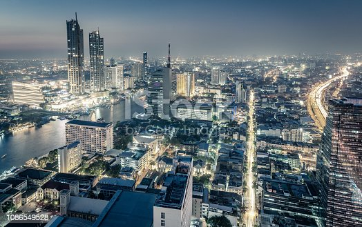 Cityscape skyline at night, Bangkok, Thailand