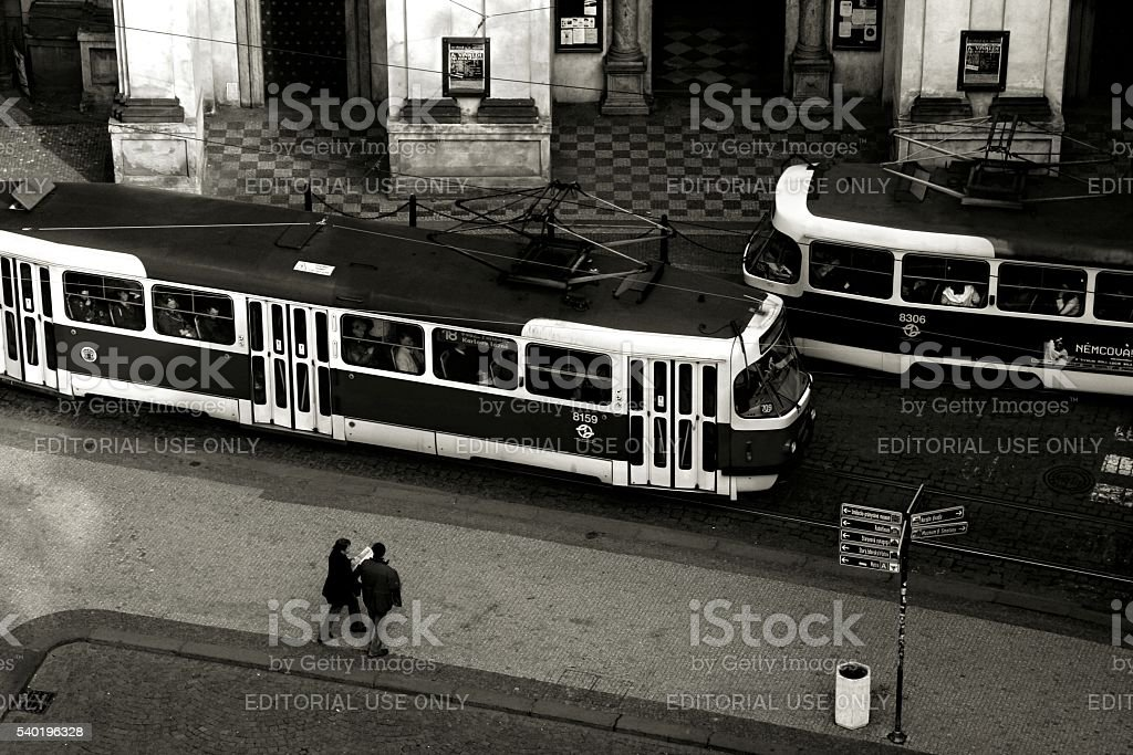 High Angle view Urban Scene Prague Czech Republic stock photo