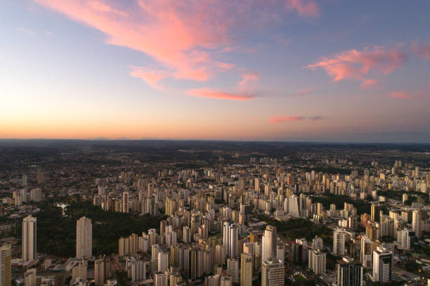 High angle view with sunset in Goiânia, Goiás High angle view with sunset in Goiânia, Goiás goiás city stock pictures, royalty-free photos & images