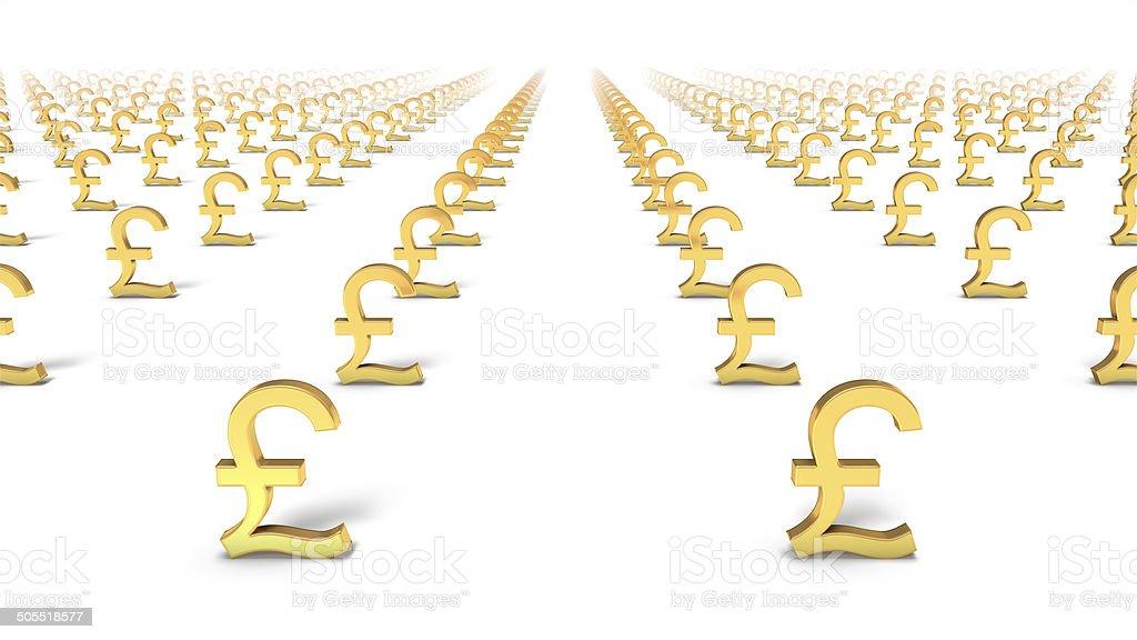 High Angled Diagonal View Of Endless Pound Symbols Stock Photo