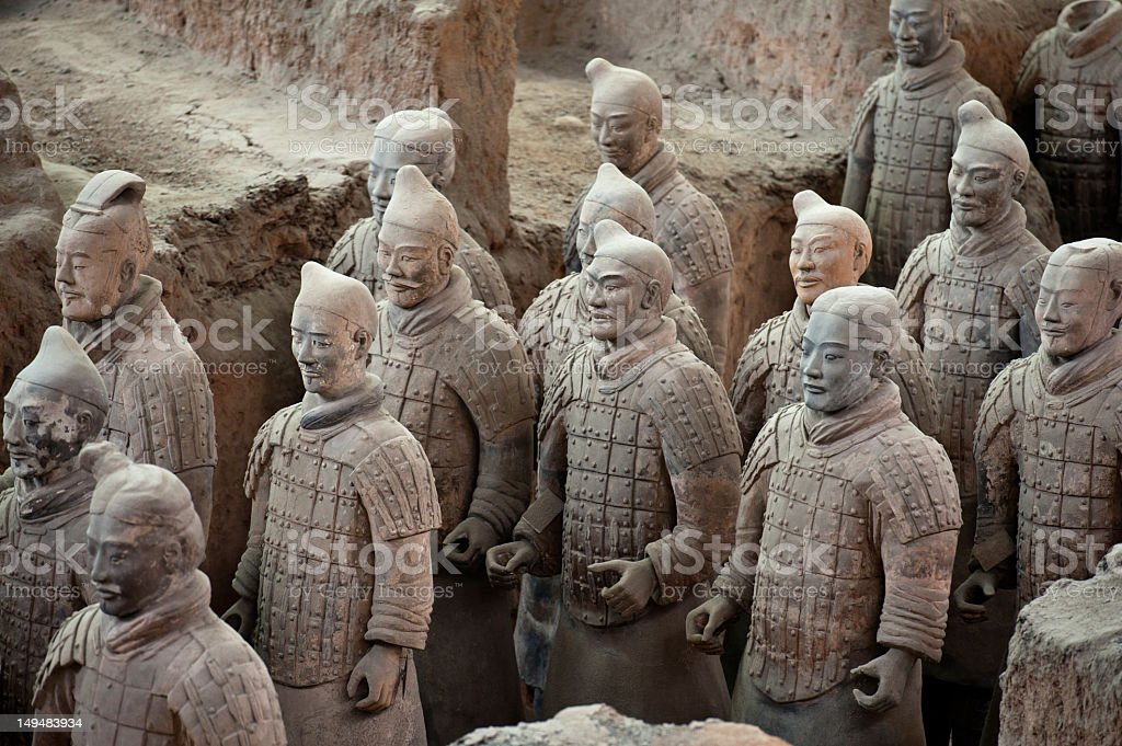 High angled view of the detailed Terracotta Warriors statues stock photo