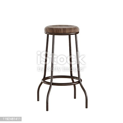 High bar stool with woods eat and metal legs on white background. 3d rendering