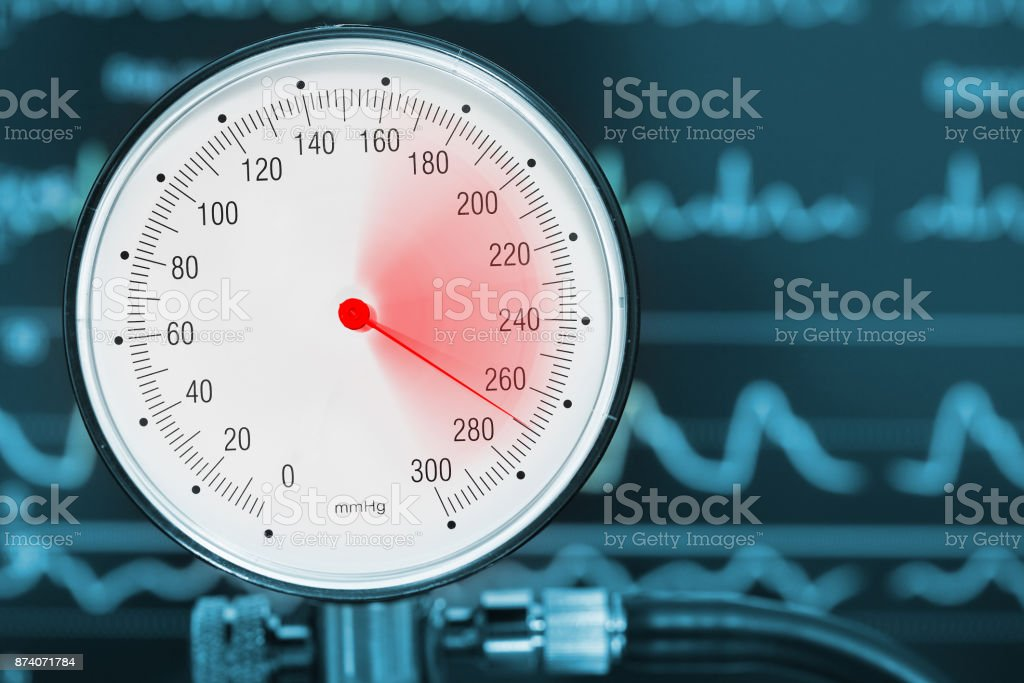 High blood pressure diagnostics medical concept stock photo
