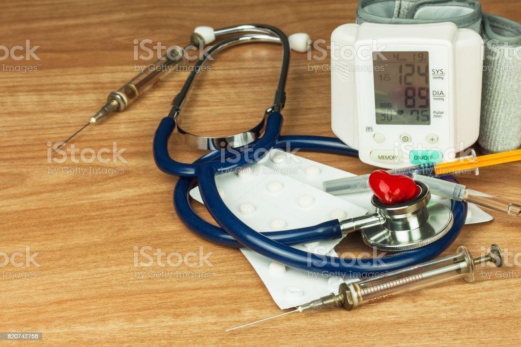 High Blood Pressure Measurement. Treatment of civilization disease. Sick heart. stock photo