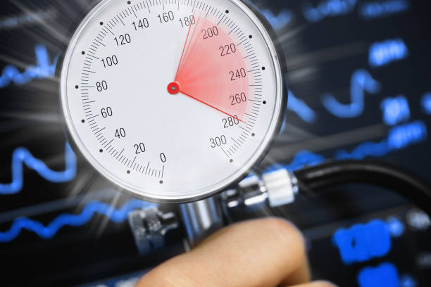 High blood pressure on the tonometer High blood pressure on the tonometer against the background of the cardiac monitor. Abstract concept medical image hypertensive stock pictures, royalty-free photos & images