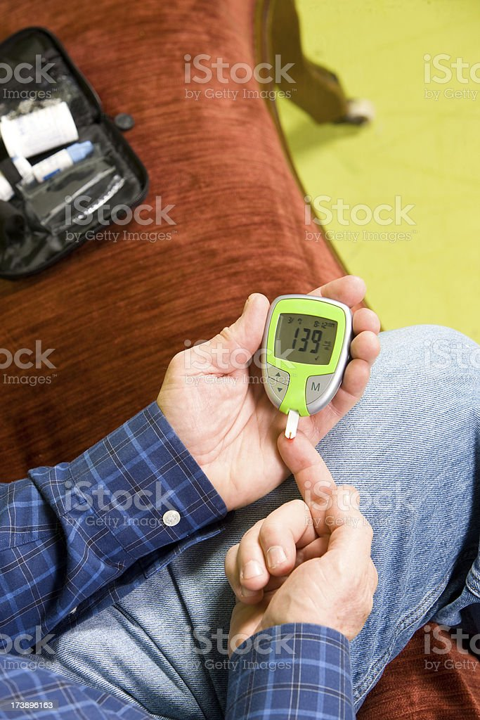 High Blood Sugar Reading On Glucometer royalty-free stock photo