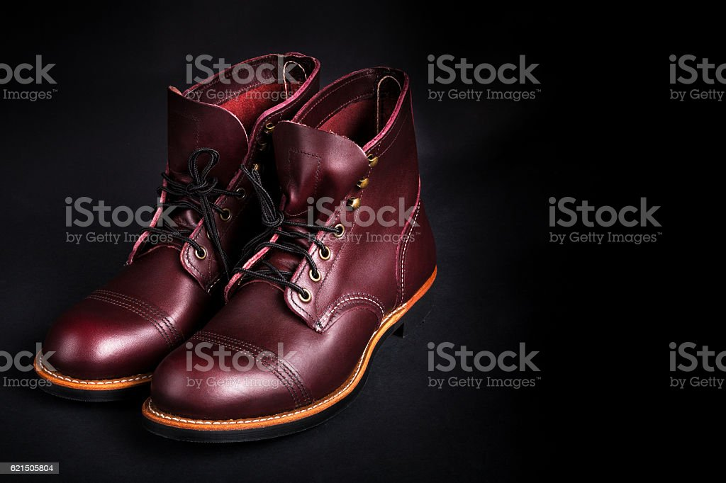 High boots. Fashionable mens leather brown shoes foto stock royalty-free