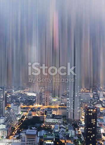 City in Blur Motion, Abstract, Motion-blurred, View from the front