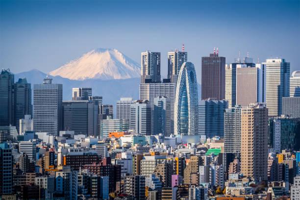 high building at tokyo shinjuku and mt.fuji - shinjuku ward stock photos and pictures