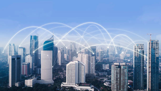 High buildings with network connection at morning stock photo
