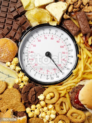 High calorie food a surrounding weighing scales.