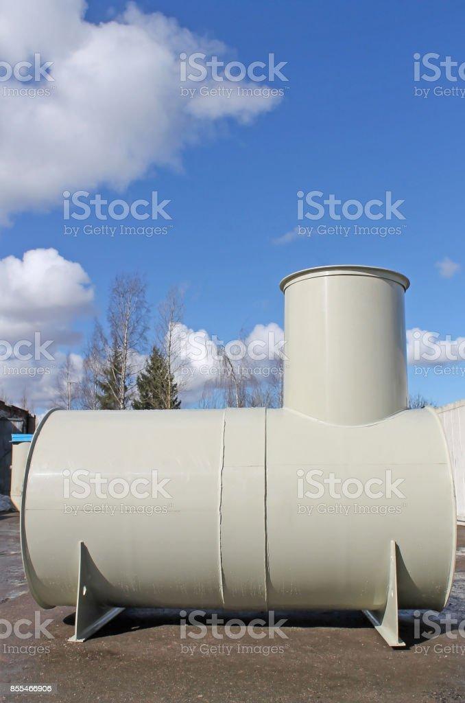 High capacity custom made metal fuel tank outside stock photo
