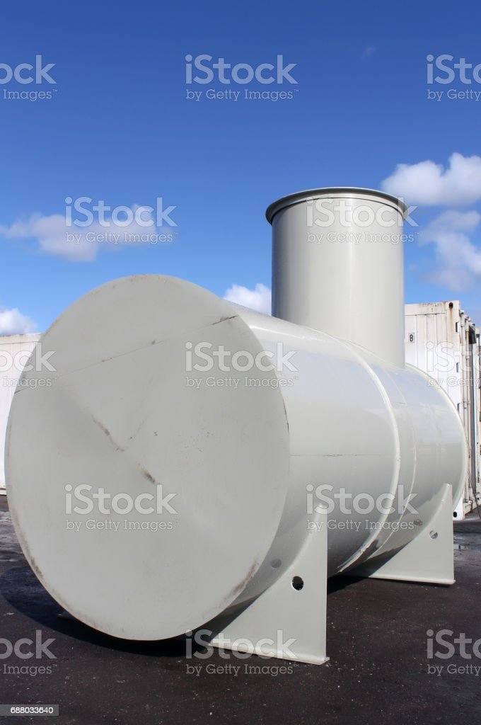High capacity custom welded metal fuel tank stock photo