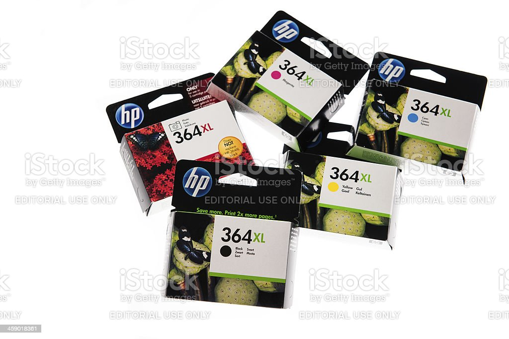 HP 364 XL high capacity ink cartridge box royalty-free stock photo