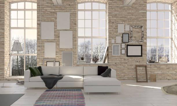 hohe decke wohnzimmer interior - große wohnzimmer stock-fotos und bilder