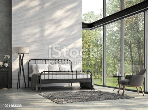 1140293905 istock photo High ceiling loft bedroom with nature view 3d render 1091463036
