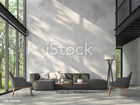 High ceiling loft living room 3d render.There are white brick wall,polished concrete floor and black steel structure,There are large windows look out to see the nature,sunlight shining into the room.