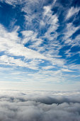 High cirrus clouds against deep blue for sky backgrounds, taken on a 3000 foot mountain peak, North Carolina, NC, USA.