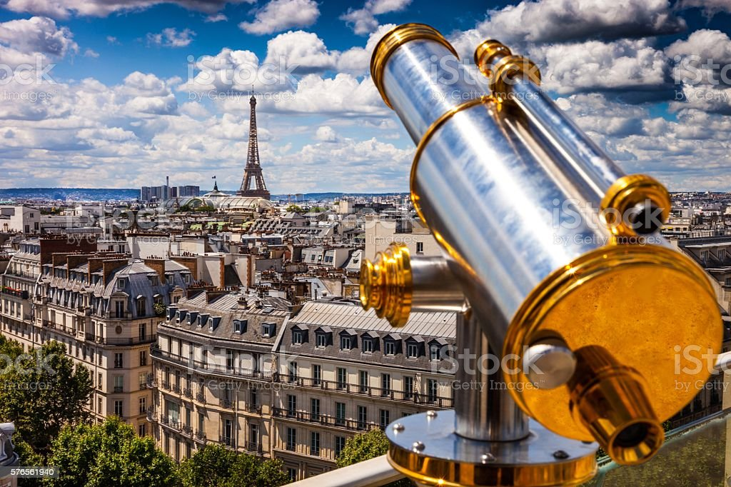 High city view of Paris during a beautiful day stock photo