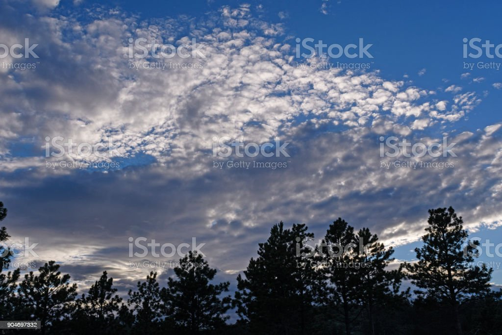High Clouds in the Evening in the Blacks Hills stock photo