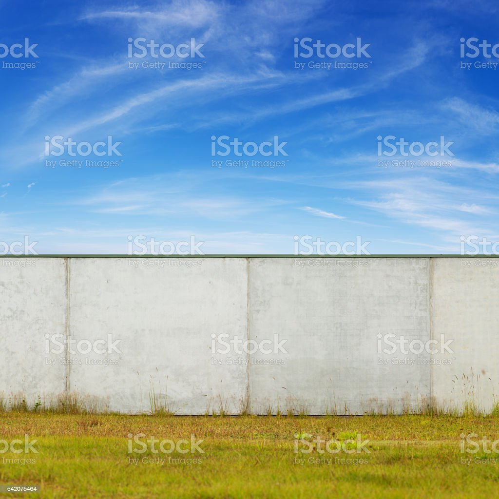High Concrete Wall or Factory Exterior stock photo