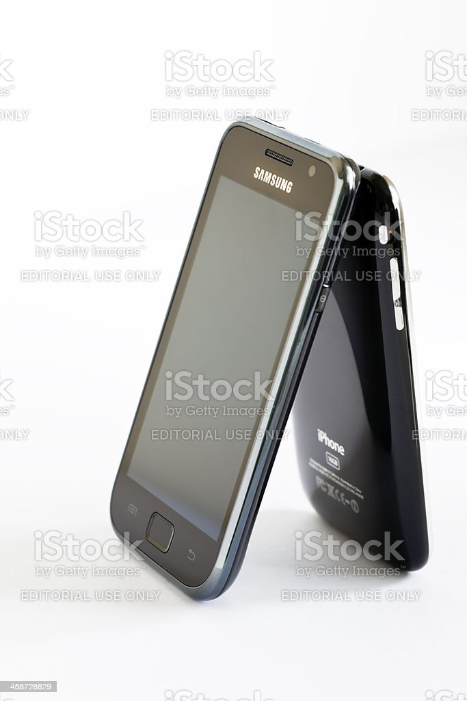 High Contrast Apple Versus Samsung royalty-free stock photo