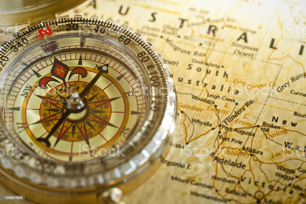 High Contrast Compass And Map Stock Photo IStock - Us map with compass