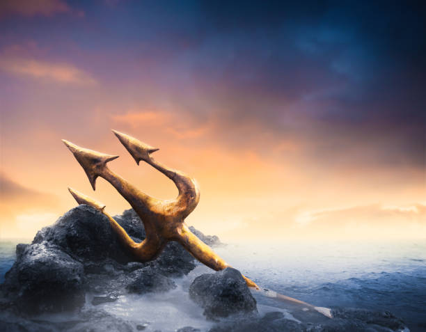 High contrast image of Poseidon's trident at sea stock photo