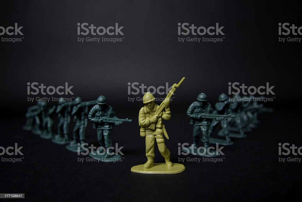 High Contrast Toy Soldiers Close up stock photo