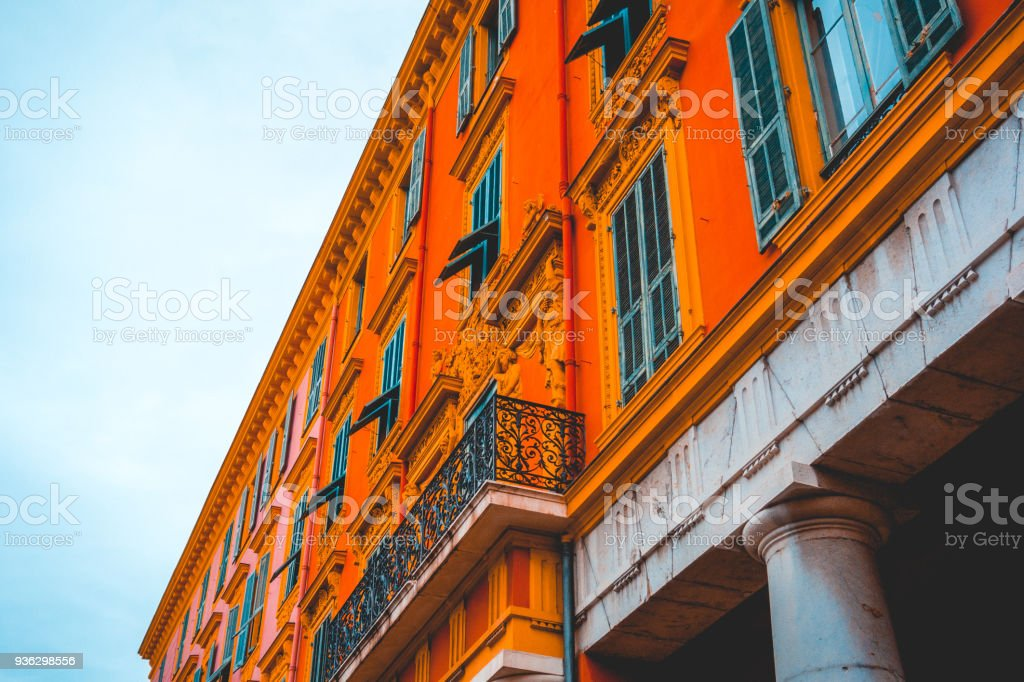 high contrasted orange building in ancient style stock photo