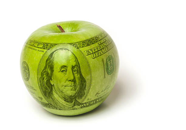 High cost of education apple stock photo