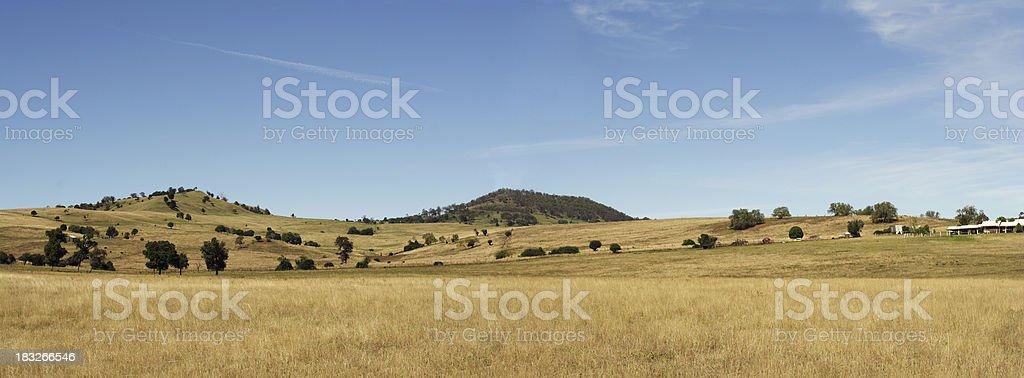high country farm panorama stock photo