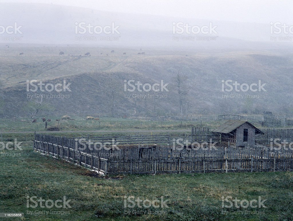 High country ranch in a heavy sleet storm royalty-free stock photo