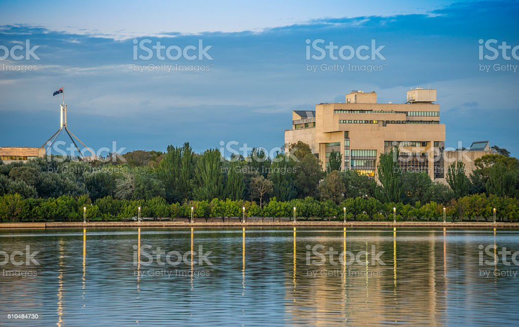 High Court of Australia and Lake Burley Griffin stock photo