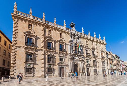 Granada, Spain - November  1, 2017: High Court of Justice of Andalusia at Plaza de Santa Ana square in Granada.