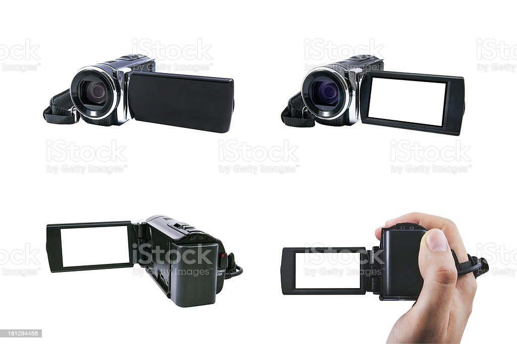 High definition camcorder set with view screen, isolated on whit royalty-free stock photo