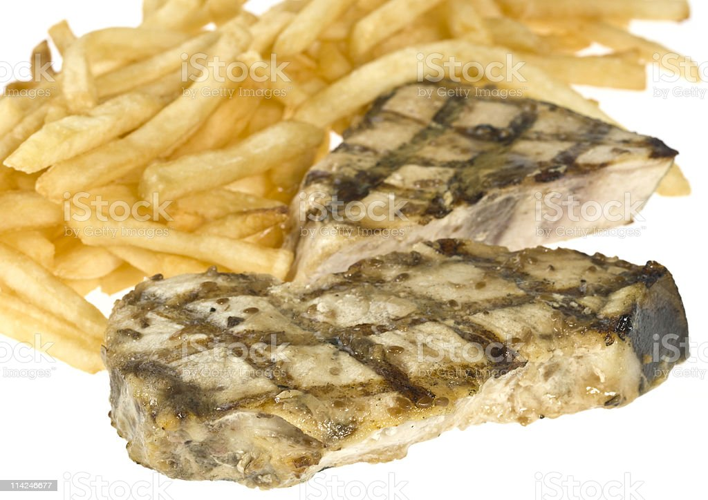 High definition Grilled sword fish Steak with fries stock photo