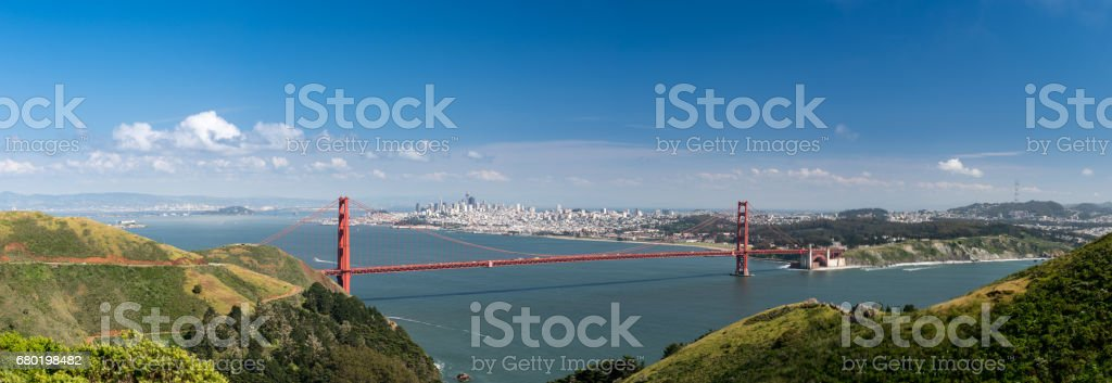 High definition panorama of the Golden Gate Bridge and San Francisco stock photo
