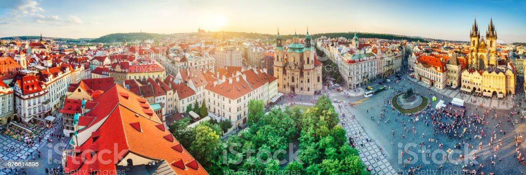 high definition panoramic aerial view from old town square in Prague stock photo