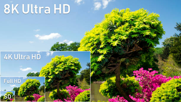 8K, 4K, high definition resolution compare 8K Ultra HD, 4K UHD, Full HD and HD resolution compare. TV standards presentation ultra high definition television stock pictures, royalty-free photos & images