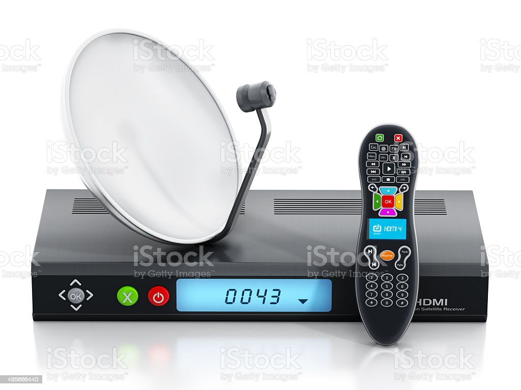 High Definition satellite receiver, dish and remote controller stock photo
