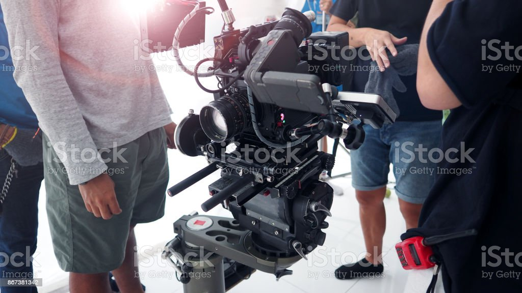 4K high definition video camera shooting stock photo