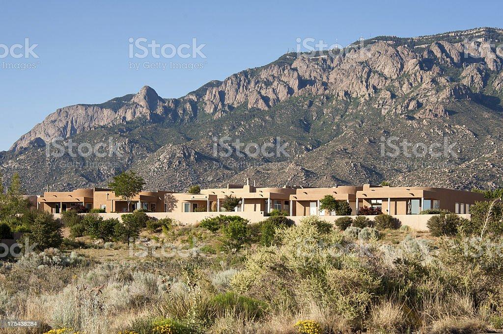 High Desert Community with Modern Southwest Adobe Houses stock photo