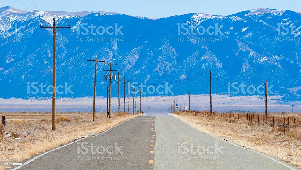 High Desert Road Mirage stock photo